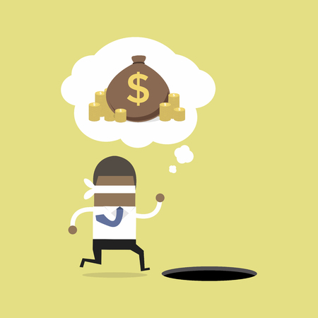 Blindfolded African businessman running to find money with pit hole. Vector illustration.