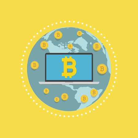 Laptop screen with the Bitcoin sign on globe. vector