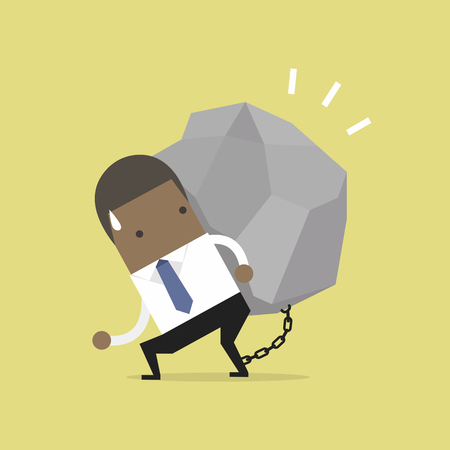 African businessman carrying a big rock vector illustration.