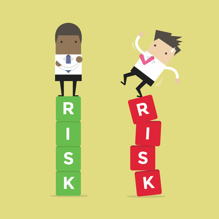 Business risk management of difference businessman between a success and failure. African businessman.