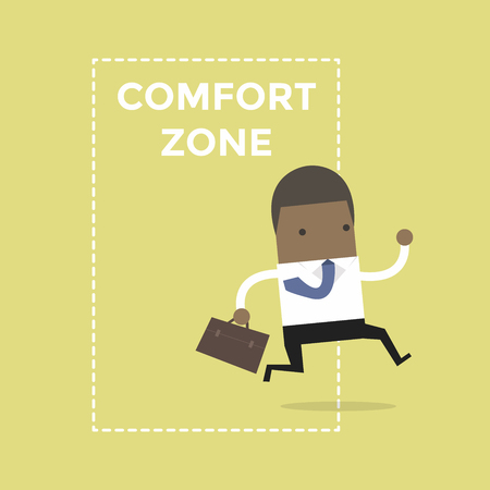 African businessman jumping out of the comfort zone to success. Vector Illustration