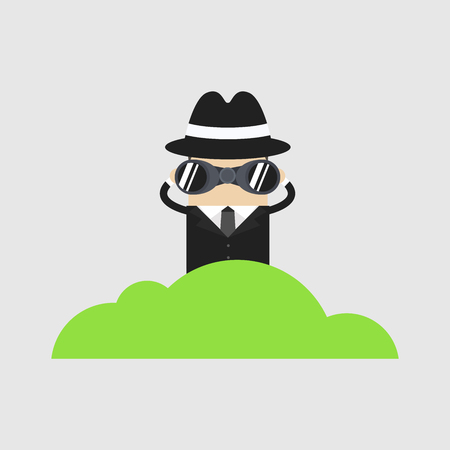 Detective character looking through binoculars from bush, spying, cartoon vector
