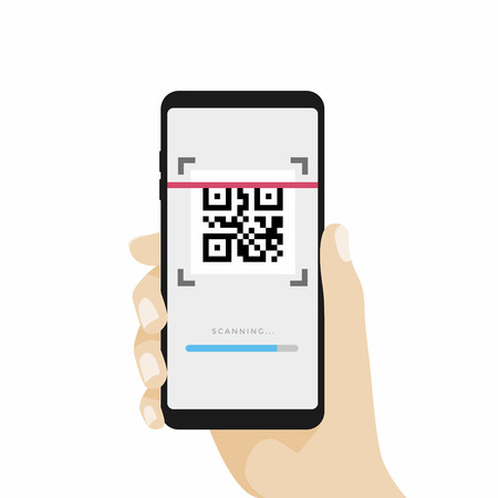 Scan QR code with Mobile phone. Scanning barcode with telephone. vector