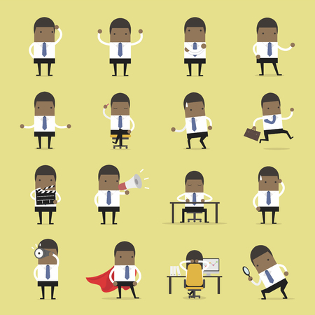 Vector Set of business people. African businessman walking to the success, businessman is in different situations. Vector illustration. Иллюстрация