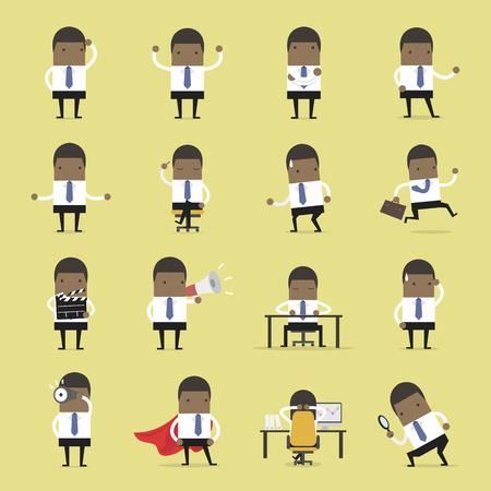 Vector Set van mensen uit het bedrijfsleven. Afrikaanse zakenman die aan het succes loopt, is de zakenman in verschillende situaties. Vector illustratie Stock Illustratie