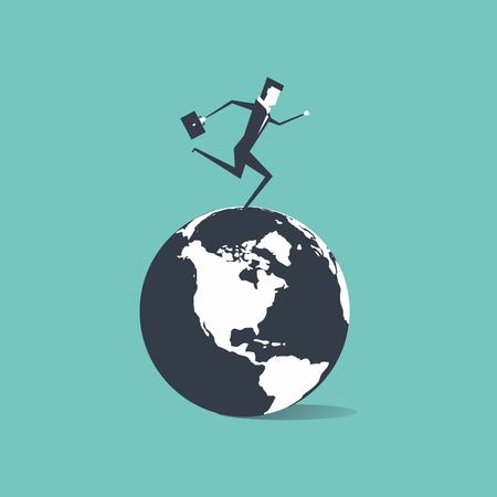 Businessman running around the world illustration. Иллюстрация