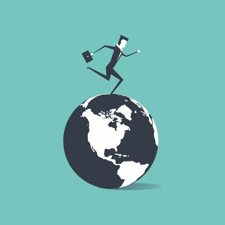 Businessman running around the world illustration. Vectores