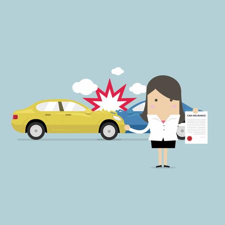 Autoverzekering in servicecentrum. Zakenvrouw toont het document van autobescherming.