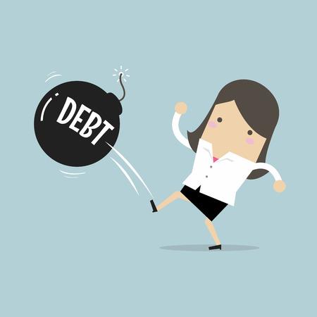 Onderneemster het schoppen de bal van de schuldbom weg zoals als voetbalbal, van de bedrijfs succesbelasting conceptenillustratie.