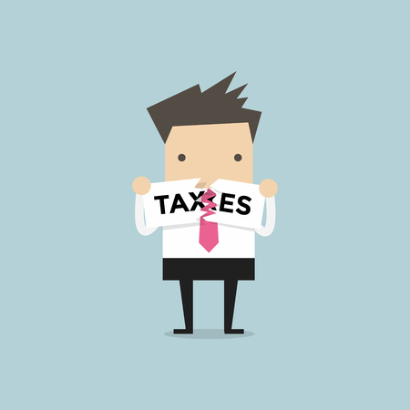 Businessman Teared Taxes paper. finance and profit concept.