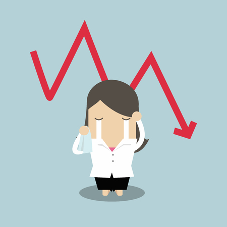 Sad businesswoman crying with falling down red arrow graph financial crisis