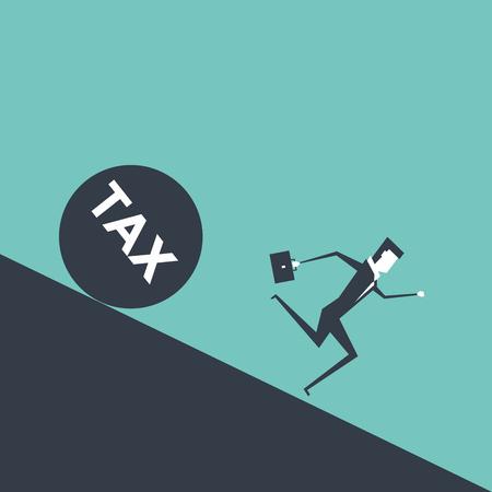 Businessman runs away from big tax. Illustration
