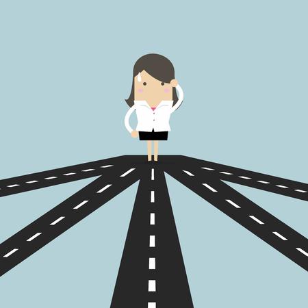 成功やビジネス戦略への将来の方向性を選択する交差点のビジネスウーマン。