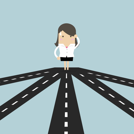 Businesswoman on crossroad choosing future direction to success or business strategy. Illustration
