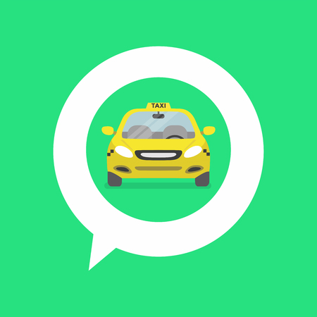 Map pin with taxi car sign.