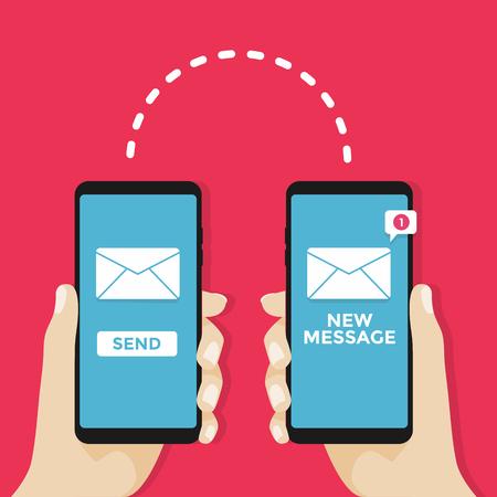 Verzenden bericht concept. Hand met telefoon met envelop.