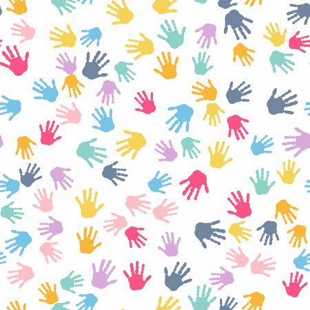 Seamless Pattern. Print of Kids Hands. Illustration