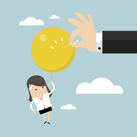 Businessman hand pushing needle to pop the balloon. Illustration