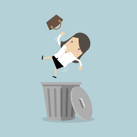 Businesswoman dropped into trashcan layoff concept. vector