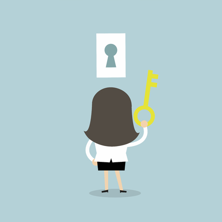 Businesswoman holding key to success. vector Illustration