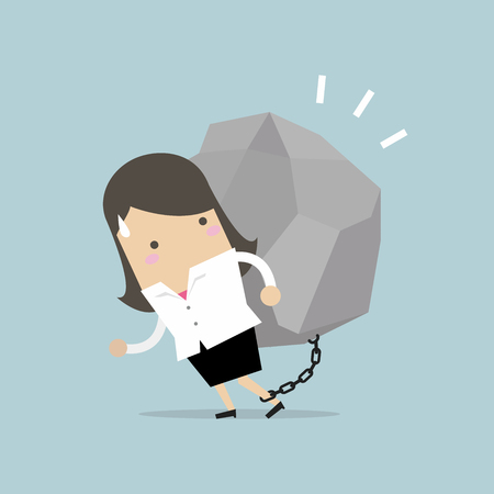 Businesswoman carrying a big rock. vector