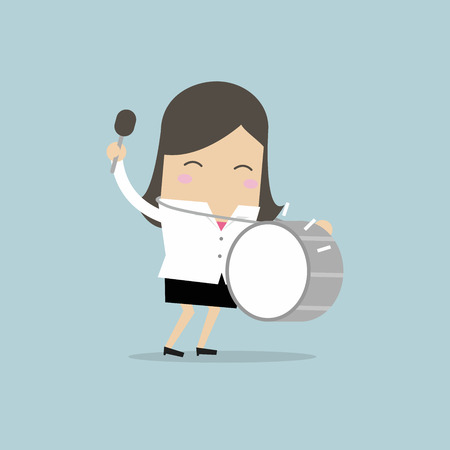 Businesswoman with big drum. vector