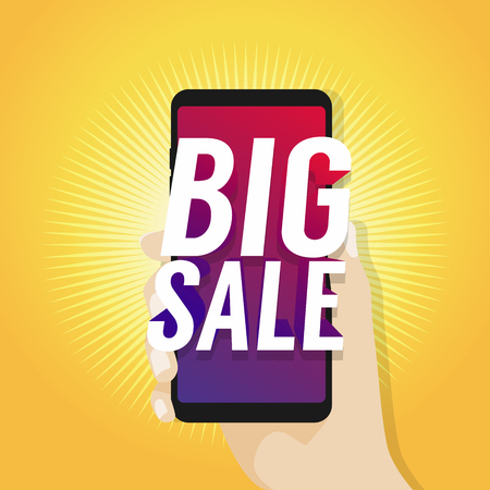 Big Sale on Mobile in Hand vector.