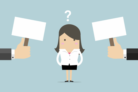 Businesswoman confused about two choices vector. Stock Illustratie