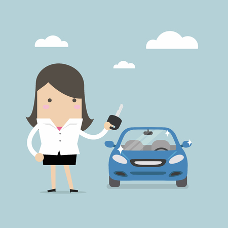 Businesswoman holding a key of a new car vector.