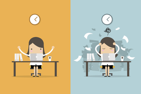 Businesswoman finish working and busy businesswoman unfinished work. Business concept cartoon vector.