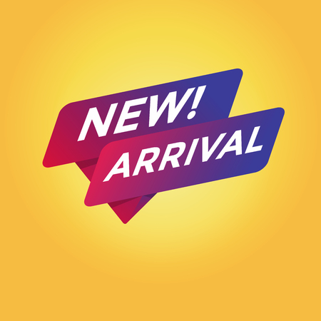 New Arrival tag sign in yellow background