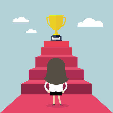 Businesswoman standing in front of a stair that leads the trophy, Shortcut to success, vector Banque d'images - 96963415
