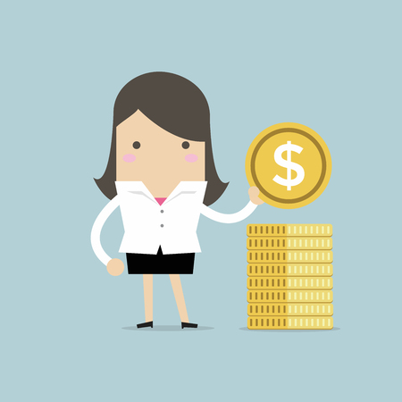 Businesswoman puts gold coin in a pile. Vector illustration.