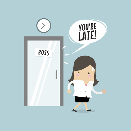 Businesswoman working late. Walking through the boss room and was warned by boss. Vector illustration.