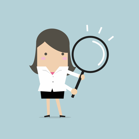 Businesswoman with a magnifying glass. Vector illustration.
