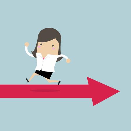 Businesswoman running opposite arrow way. Vector illustration. 일러스트