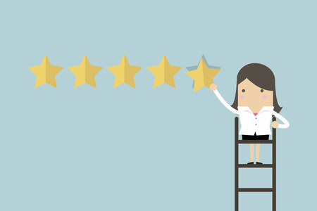 Businesswoman giving five star rating. Vector illustration.
