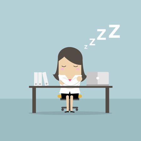 Businesswoman sleeping at works flat design. Vector illustration.