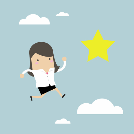 Businesswoman jumps to reach out for the star. Vector illustration.