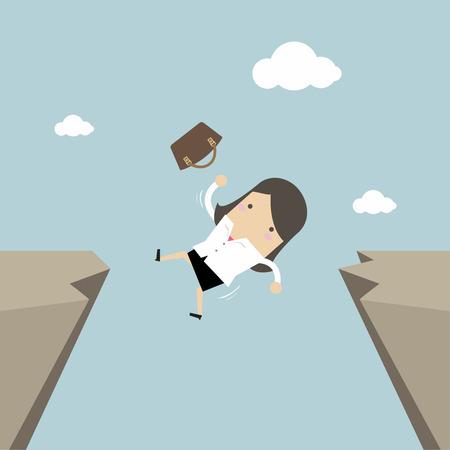 Businesswoman falling from gap of cliff. Vector illustration. Ilustração Vetorial