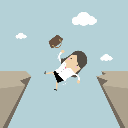 Businesswoman falling from gap of cliff. Vector illustration. Illustration