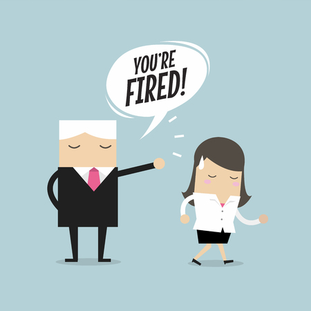 Angry boss firing employee. Unemployment, crisis, jobless and employee. Job reduction concept. Vector illustration. Illustration