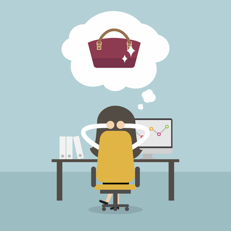 Businesswoman dreaming about new handbag. Vector illustration.