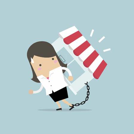Businesswoman carry his shop debt with chained on ankle. Financial concept vector illustration.