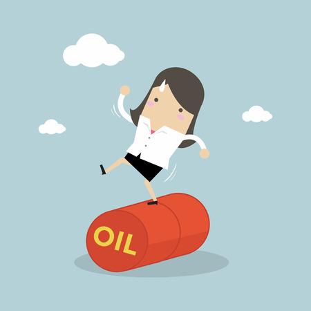Businesswoman balancing on oil barrel rolling. Vector illustration. Illustration