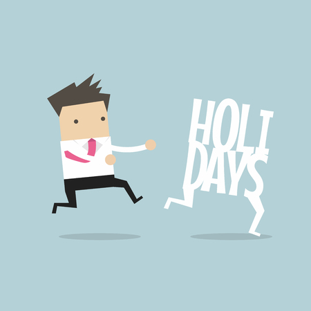 Businessman running catch up holidays. Vector illustration.
