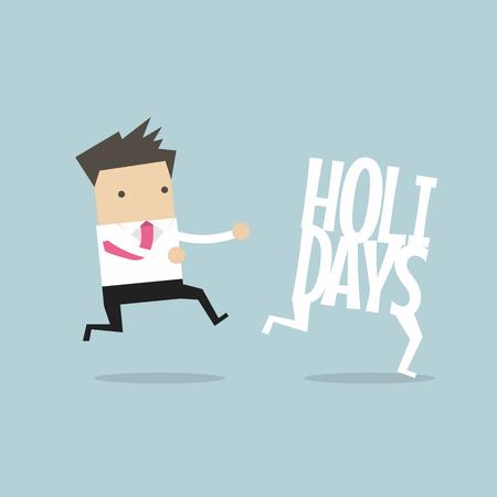 Businessman running catch up holidays. Vector illustration.