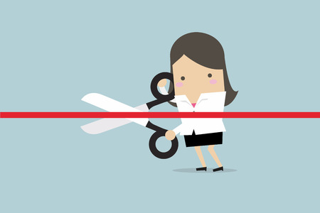 Businesswoman cutting a red ribbon with scissors. Vector illustration.