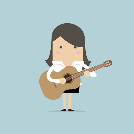 Businesswoman playing guitar. Vector illustration. Vectores