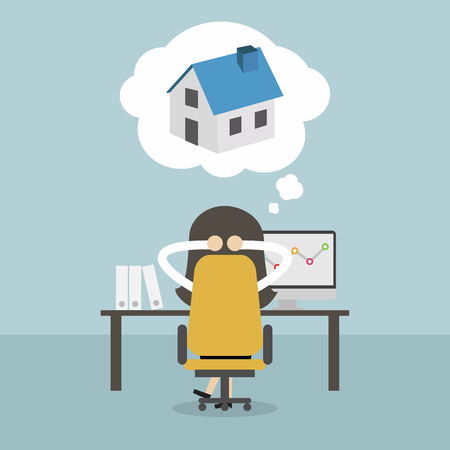 Businesswoman dreaming about house. Vector icon isolated on plain background.